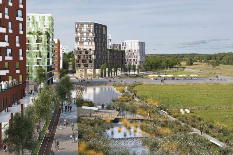 I Program för Barkarbystaden beskrivs hur staden möter naturen. Bilden visar hur Barkarbystaden via en kaj mot det gröna möter Järvafältets natur.