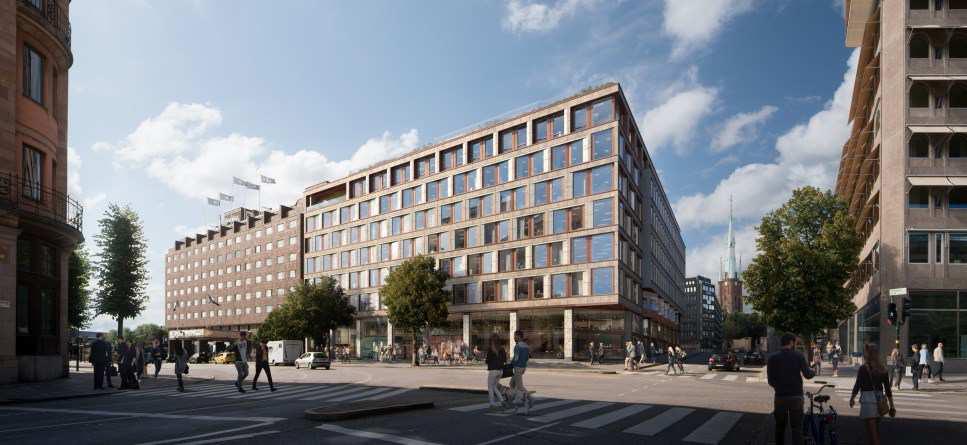 Den nuvarande byggnaden på fastigheten Snäckan 8, där KPMG varit hyresgäst, ska jämnas med marken. Fastigheten ligger bredvid hotellet Sheraton (till vänster på illustrationen).