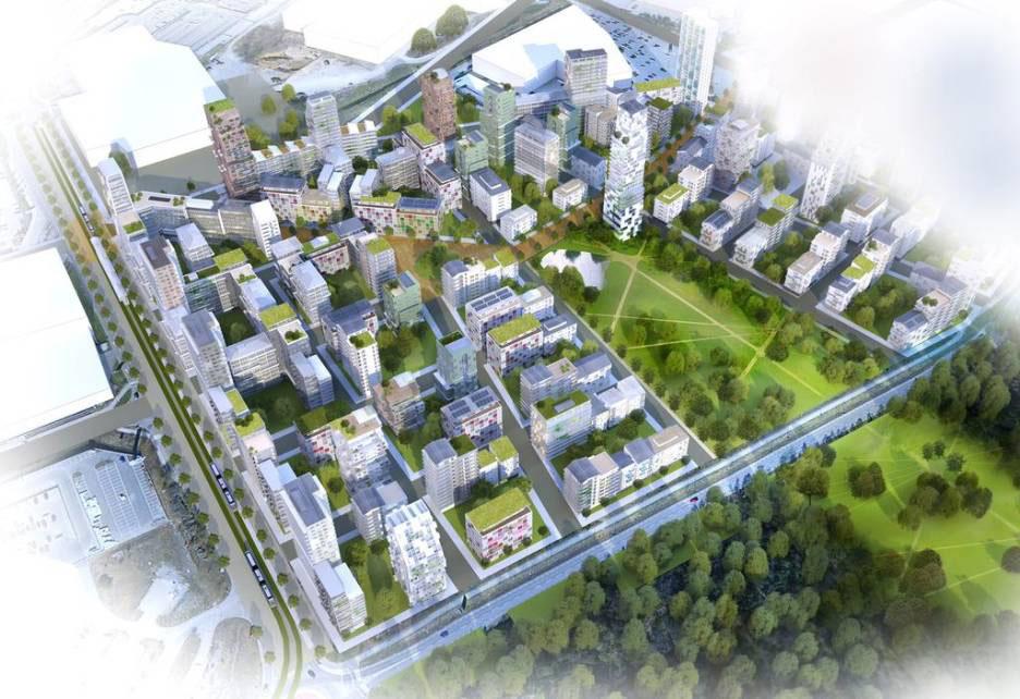 Visionsbild över hur området vid Kungens Kurva med nybyggda lägenheter eventuellt kan komma att se ut.